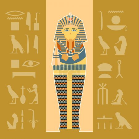 Vector image of the egiptian sarcophagus banner...