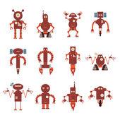 Kolekce ikon červená robota
