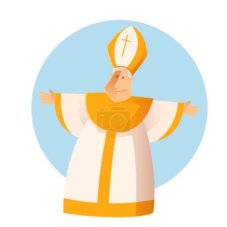 Illustration pour Image vectorielle d'un heureux salut catolique Pape - image libre de droit