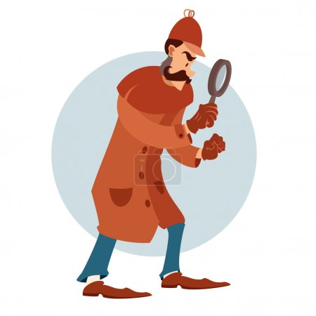 Illustration for Vector image of a cartoon flat detective with magnifying glass - Royalty Free Image
