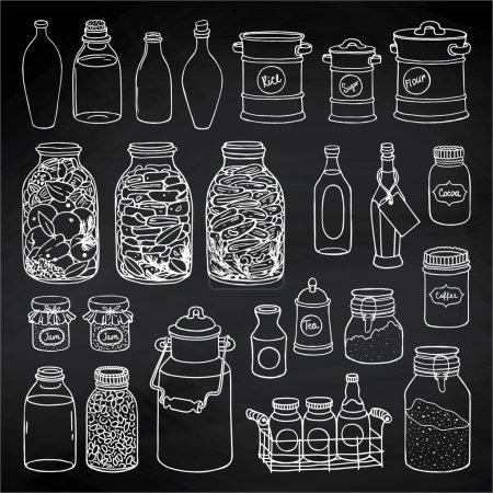 set de cuisine bocaux et bouteilles
