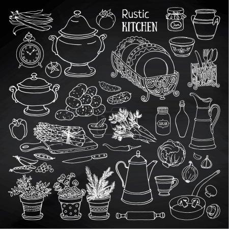 set of rustic kitchen utensils