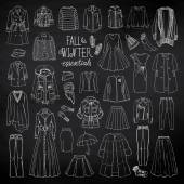 Vector illustration of woman fall and winter fashion collection of clothes  sketch with coats dresses skirts jacket trousers hats gloves socks Black and white set on chalkboard