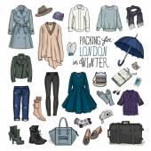London winter travel luggage set