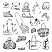 Vector illustration of woman fashion collection of bags Hand-drown objects sketch Black and white set