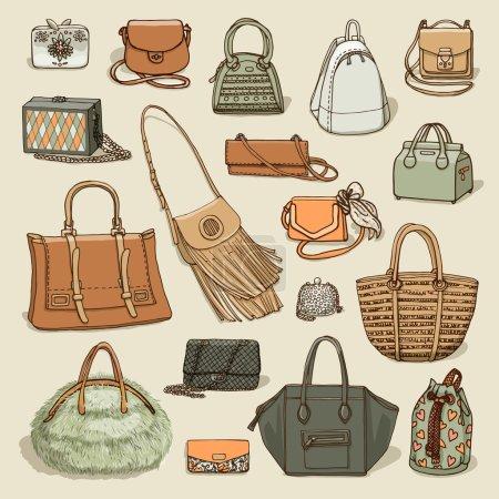 Illustration pour Illustration vectorielle de mode femme collection de sacs . - image libre de droit