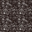 Seamless vector experience pattern with coffee beans, bag of coffee, coffee mill, cups. Hand-drown vintage background. black and white