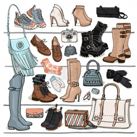 Set of fall and winter bags and shoes