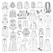 Vector illustration of woman fall and winter fashion collection of clothes Hand-drown objects sketch with coats dresses skirts jacket trousers hats gloves socks Black and white set