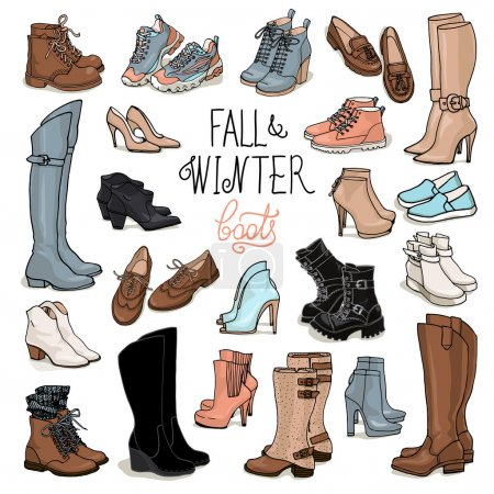 Fashion collection of winter boots and shoes