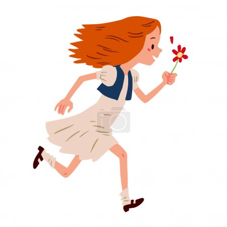 girl running with flower