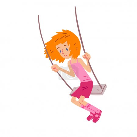 Joyful girl on swing