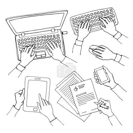 Illustration pour Ensemble de croquis vectoriels de mains tenant divers dispositifs de communication de haute technologie. Concept d'entreprise de la main à l'aide d'un ordinateur portable, tablette et téléphone intelligent, écriture et dactylographie sur un clavier - image libre de droit