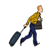 Man passenger with luggage in airport cartoon vector illustration