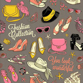 Hand drawn vector seamless pattern of shoes bags and female fashion accessories