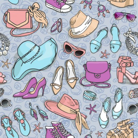 Illustration for Hand drawn vector seamless pattern of shoes, bags and female fashion accessories - Royalty Free Image
