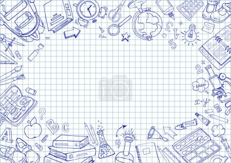 Illustration for Welcome back to school card. Doodle pen drawn background. Vector illustration in notebook - Royalty Free Image