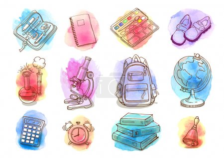 Illustration for Hand drawn watercolor school and education icon set. Doodle back to school concept. - Royalty Free Image