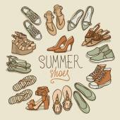 Vector illustration of woman shoes set summer fashion collection brown pastel colors