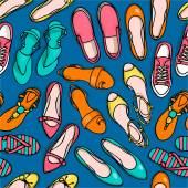 Summer shoes pattern female fashion concept vector illustration colorful on blue background