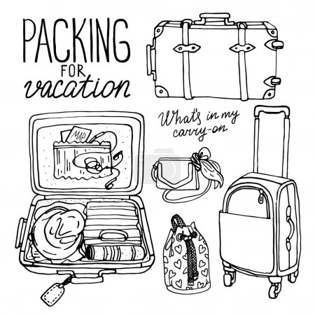 Illustration for Vector illustration set with bag, handbag, traffic trunks, backpack, suitcase. Packing for vacation. black and white sketch - Royalty Free Image