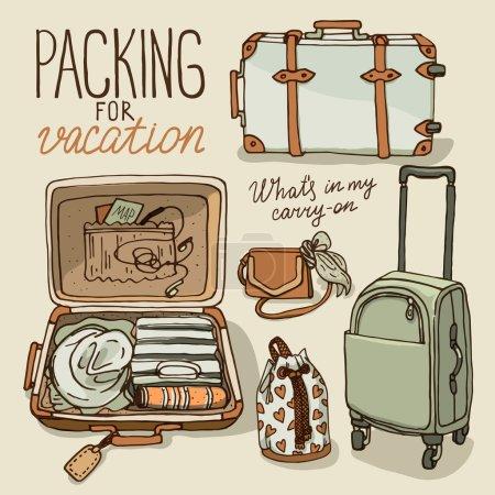 Illustration for Vector illustration set with bag, handbag, traffic trunks, backpack, suitcase. Packing for vacation. vintage colors - Royalty Free Image