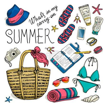Illustration pour Été défini pour la plage. Illustration vectorielle de bagages de vacances vacances femme. collection colorée - image libre de droit