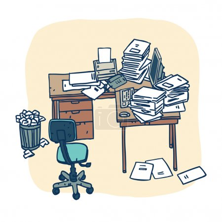 Disorder in office workspace