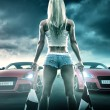 Sexy blonde woman starts street racing...