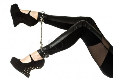 Legs in fetish high heels and ankle cuffs