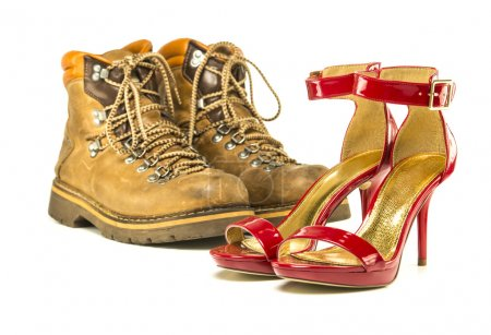 Vintage mens boots and red high heels sandals