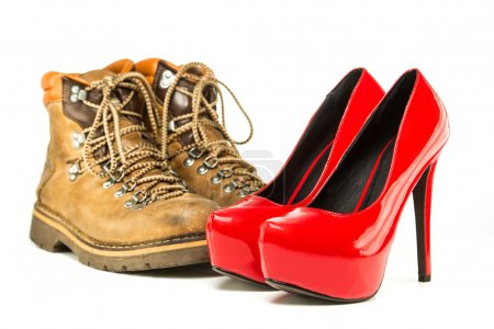 Vintage mens boots and red platform high heels shoes