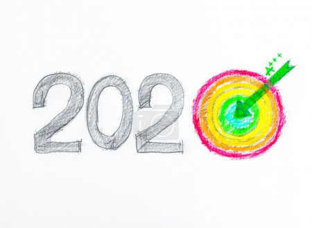 Conceptual image of Year 2020, Hand drawing sketch of energy efficiency rating concept, with number zero in shape of a target and arrow in the center, isolated on white background