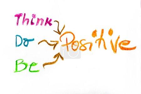 Photo pour Pensez Positif, coloré écriture à la main sur papier, pensée positive image conceptuelle - image libre de droit