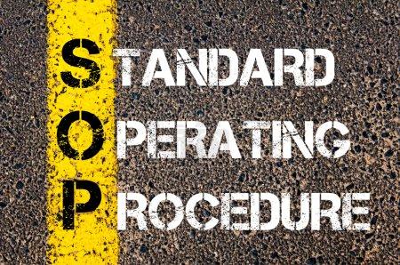 Photo pour Sop acronyme affaires comme mode opératoire normalisé - image libre de droit