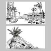 Resort hand drawn sketch banner element design Vector illustration