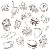Confection hand drawn tasty food
