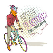 Fashion illustration of goat hipster on a bicycle