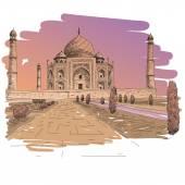 Taj Mahal hand drawn vector illustration