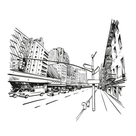 Illustration pour Ville dessinée à la main, illustration vectorielle - image libre de droit