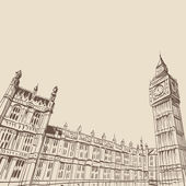 House of parliament in London hand drawn vector illustration