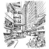 Hong Kong hand drawn