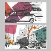 Set of city banner design elements vector illustration