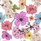 Apple flowers ornament pattern backgrounds vector illustration