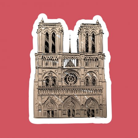 The Cathedral of Notre Dame de Paris, France. Vector illustration