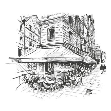 Illustration pour Café extérieur Paris, illustration vectorielle - image libre de droit