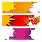 Set of comics boom backgrounds vector illustration