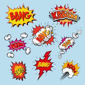 Set of comics boom vector illustration
