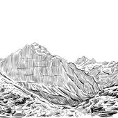Hand drawn mountain backgrounds vector illustration