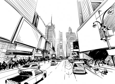 City hand drawn unique perspectives, vector illustration